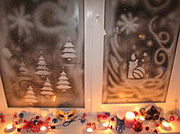 Трафарет для рисунка на стекле ,новогодние украшения