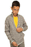 """Теплая шерстяная кофта """"Джейкоб"""", на молнии, цвет серый меланж, на рост 128 (размер 34),"""