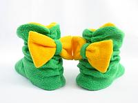 Тапочки Бантики флисовые  зеленые с желтым бантом размер 34-43