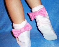 Тапочки Бантики белые с розовыми бантами Флис размер 34-43
