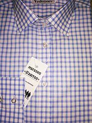 Мужская рубашка голубая клетка 100% хлопок