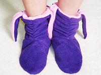 Тапочки Зайка с ушками розовыми темно-синие Флис размер 34-43