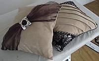 Подушка  ручная робота, черные бирюза и какао