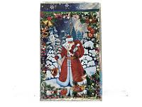 """Фольгированный новогодний пакет для конфет №12 (25x40)""""Дед Мороз с посохом""""100 шт."""