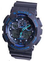 Casio g-shock ga-100 черный/синий реплика, фото 1