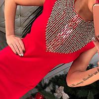 Нереально красивое трикотажное платье с утяжкой, бисером и камнями