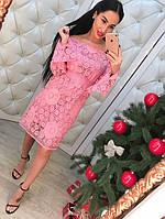 Кружевное платье с открытыми плечами и расклешенными рукавами, фото 1