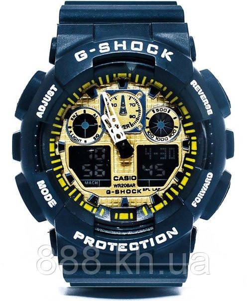 Casio g-shock ga-100 черный/золото реплика