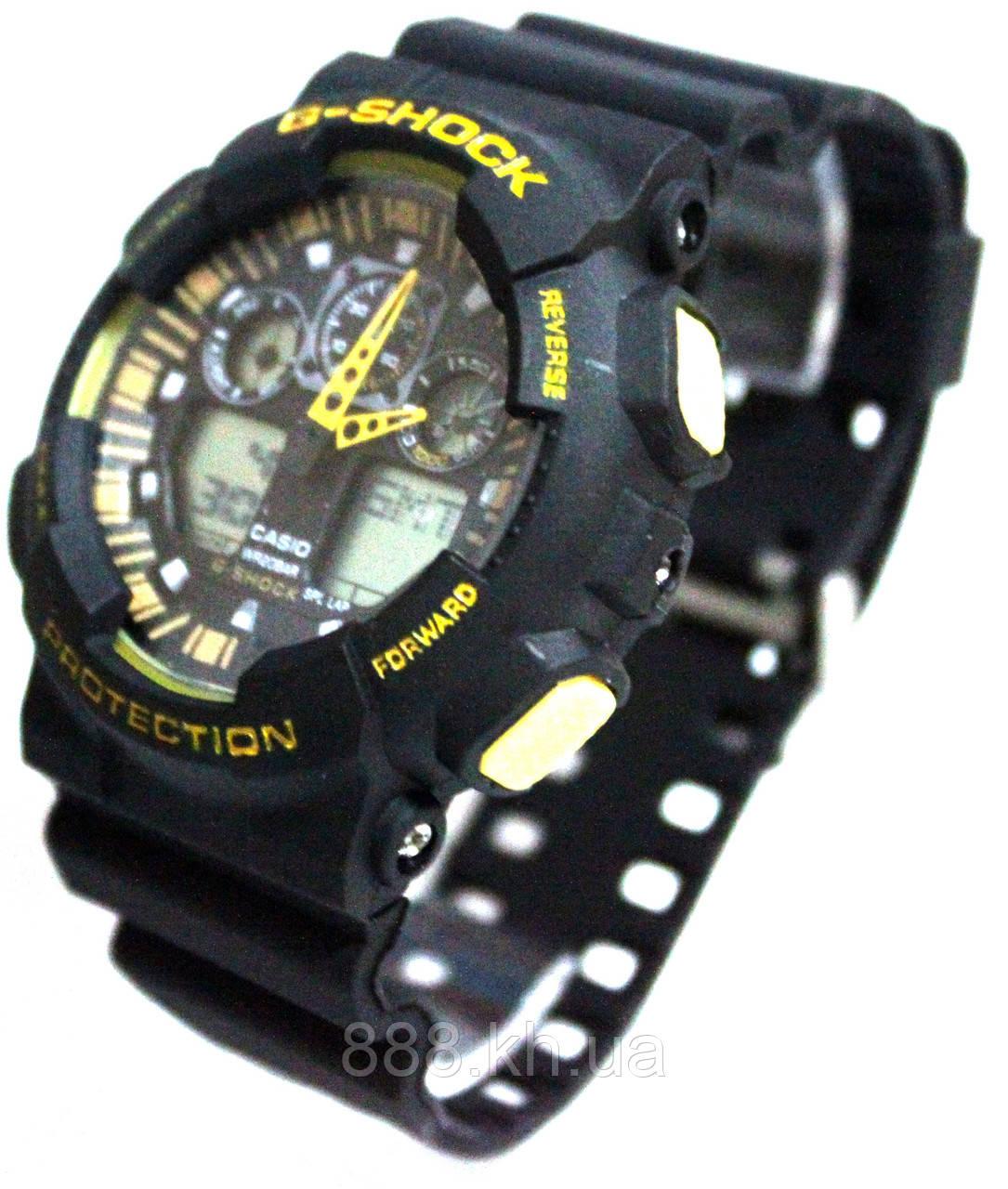 Casio g-shock ga-100 черный/желтый реплика