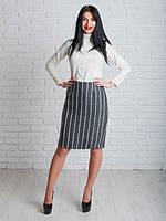 Стильная теплая женская юбка в полоску
