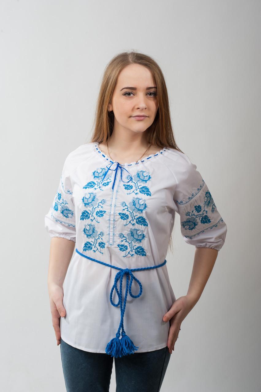 """Белая женская вышиванка """"Роза"""". Голубая вышивка"""