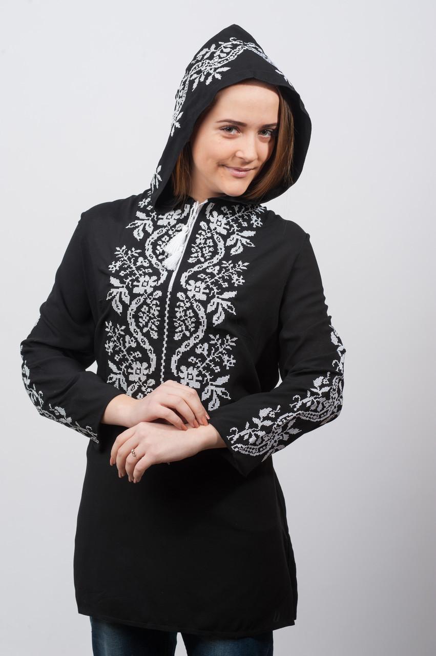 Туника Капюшон, черная вышивка Волна