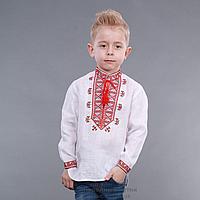 """Детская вышиванка  для мальчика льняная """"Гетьман"""" красный орнамент"""