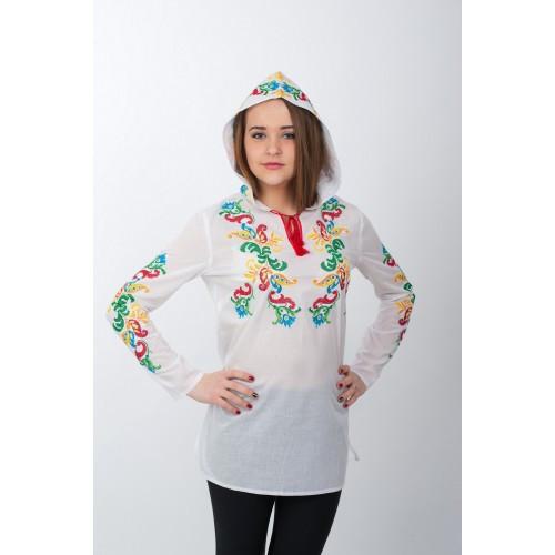 Туника с капюшоном разноцветная