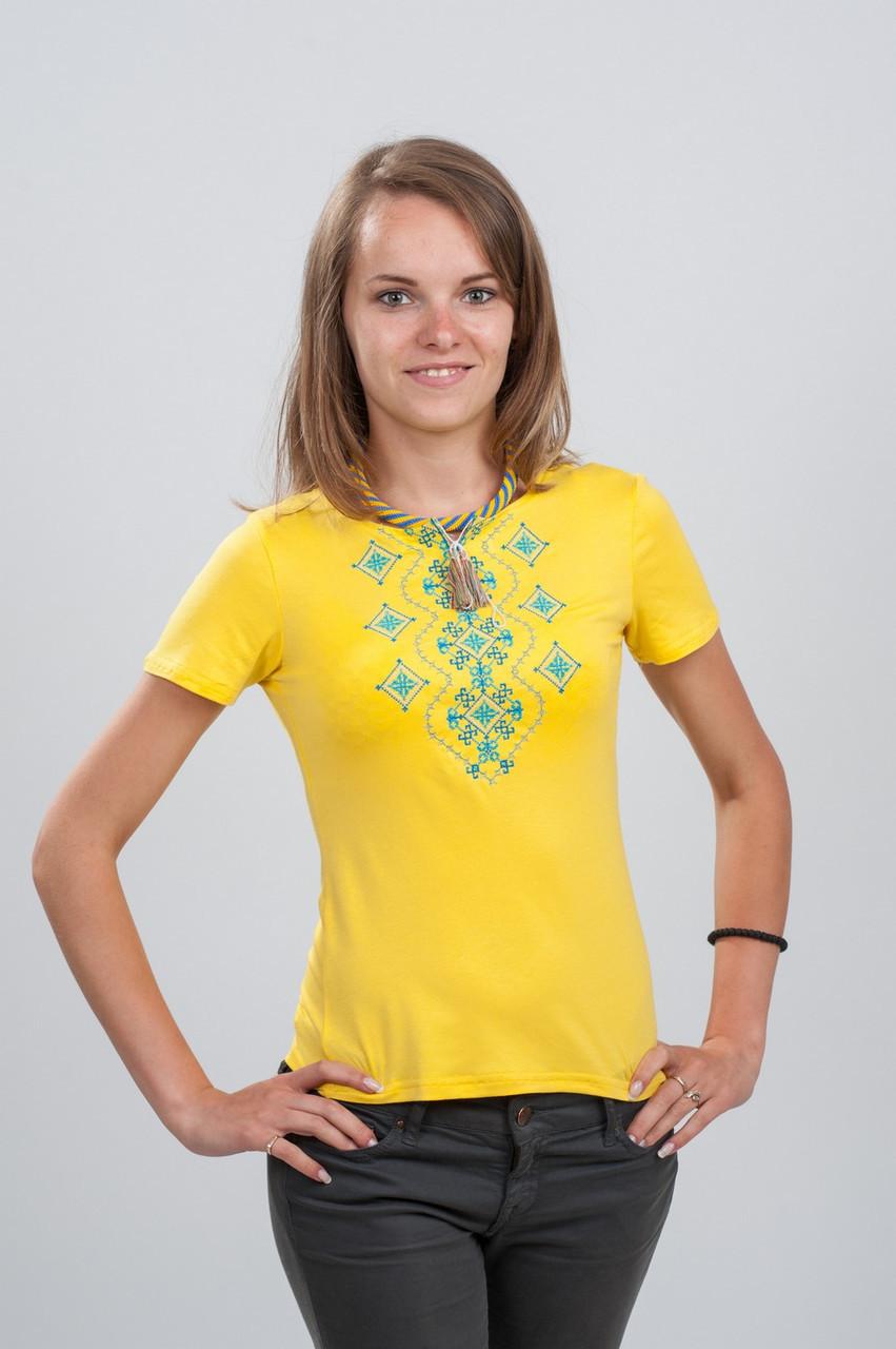 Женская футболка с вышивкой. Орнамент желтая S (42-44)