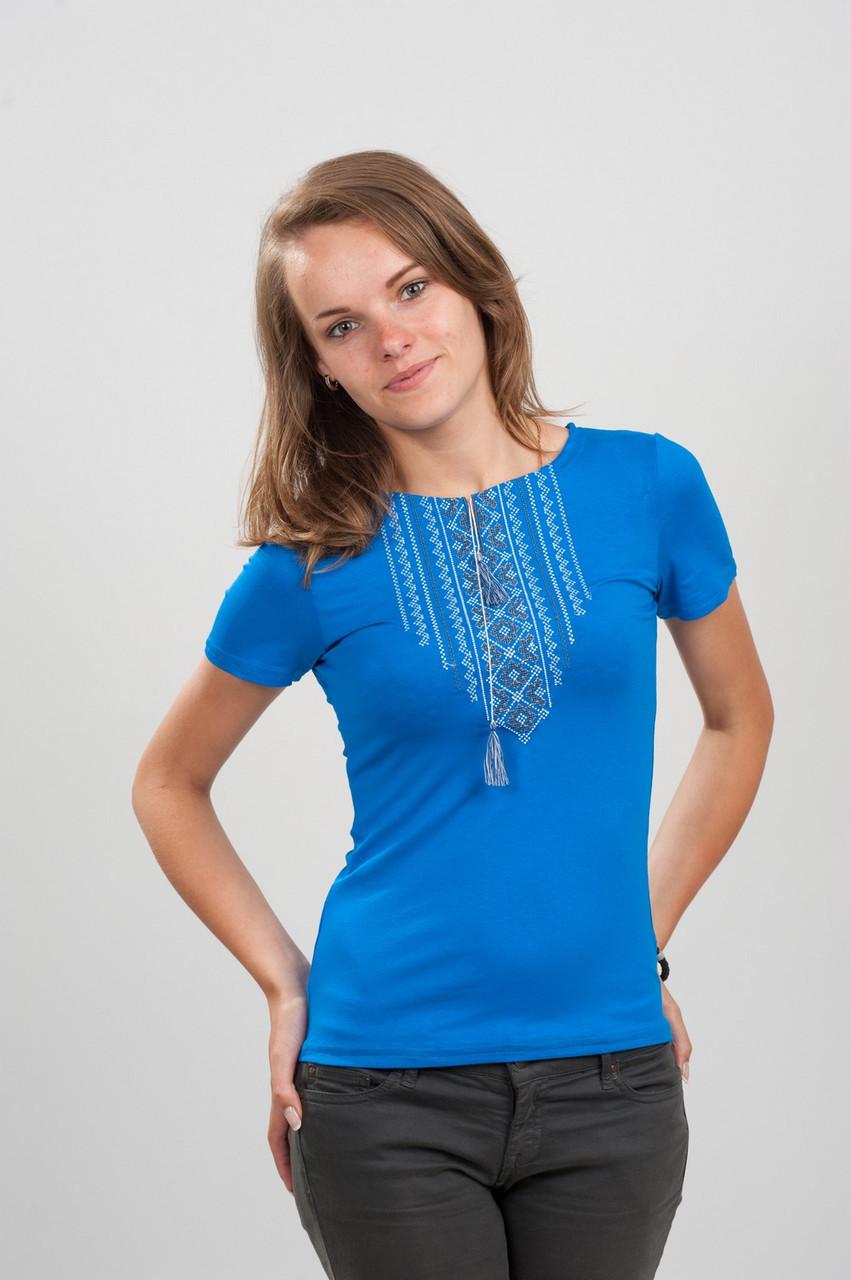 Женская вышитая футболка. Орнамент синяя 2XL (50-52)