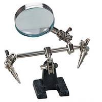 Увеличительное стекло (третья рука) ZD-10D на подставке с зажимами, 3X увеличение, диаметр 60 мм, фото 1