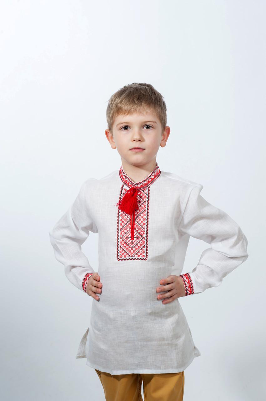 Рубашка вышиванка для мальчика с красной вышивкой