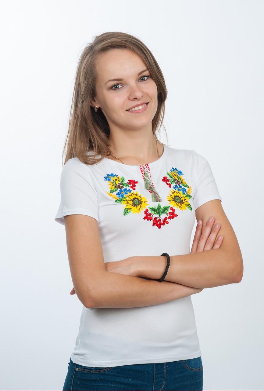 Вышитая женская футболка с подсолнухами S (42-44)