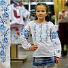 Вышитая сорочка для девочки (голубая вышивка), фото 3