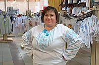 Белая женская вышиванка большого размера