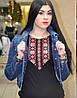 Женская черная футболка с длинным рукавом Орнамент, фото 3