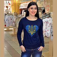 Женская футболка с украинской символикой, синяя