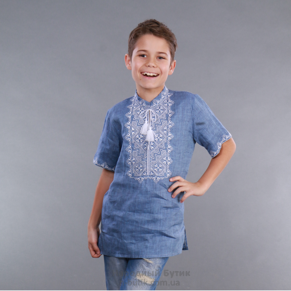 Вишиванка для хлопчика льон джинс, короткий рукав