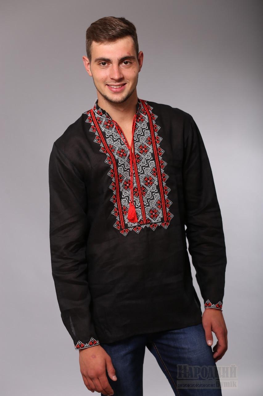 Мужская вышитая сорочка, чёрный лён