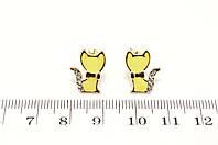 """Серьги-гвоздики эмаль """"Желтая кошка"""""""