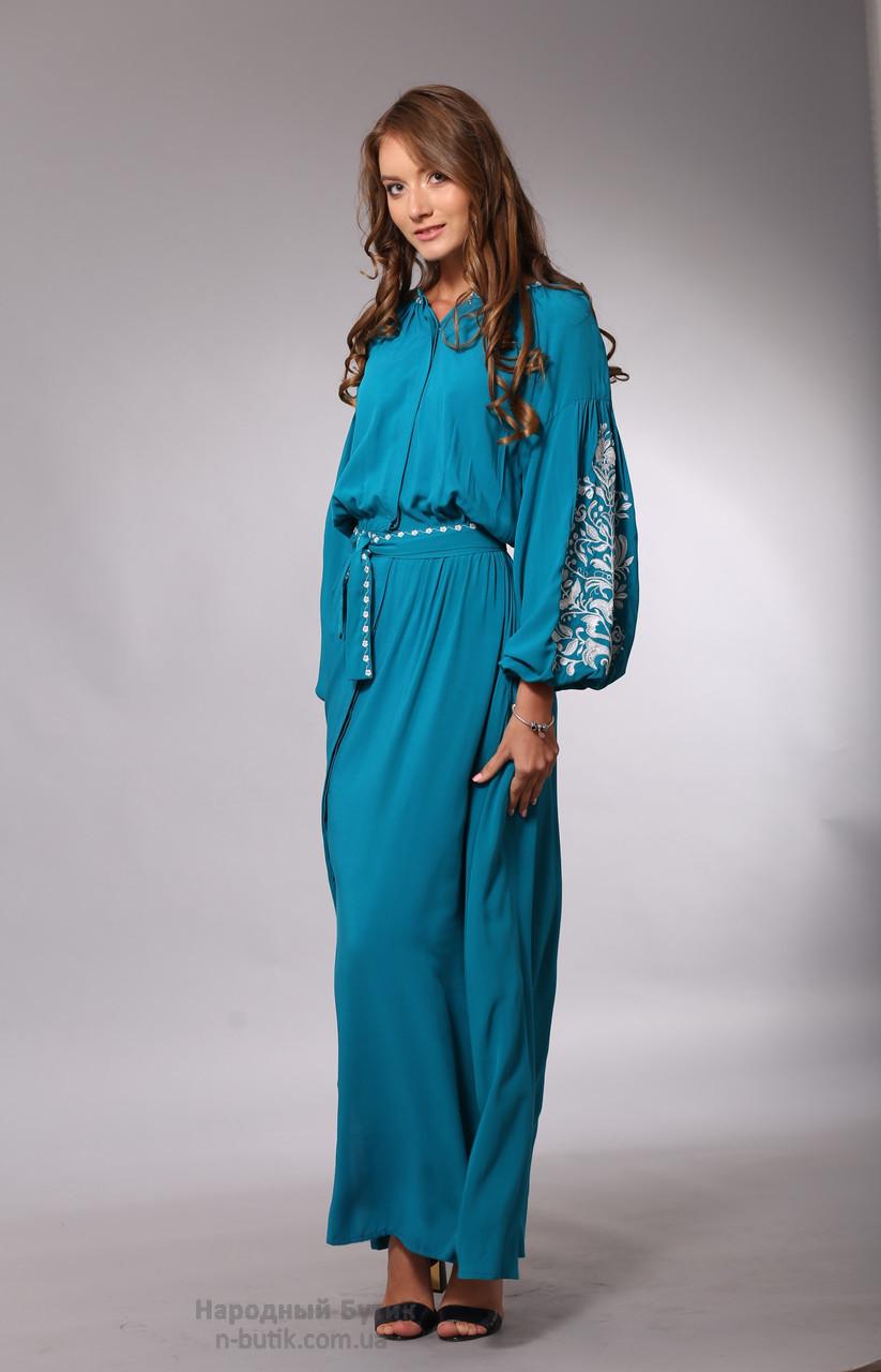 Довга сукня з штапеля з вишивкою (бірюза)