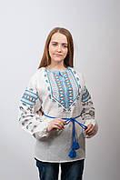 """Женская льняная вышиванка """"Гетьманка"""" с голубой вышивкой"""