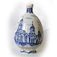 """Графин для святой воды """"Спасо-Преображенский кафедральный собор"""", 700 мл, фарфор, кобальт, золото"""