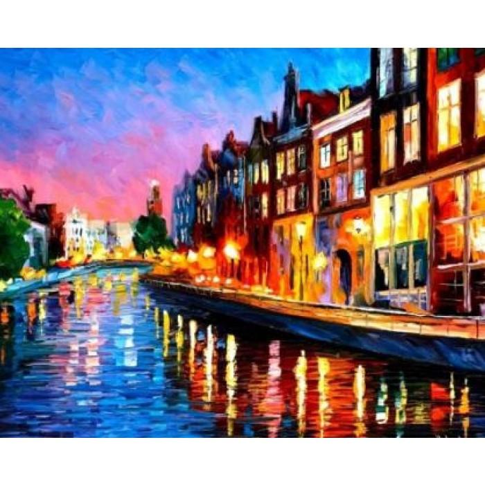 Картина по номерам Вечерний Амстердам в коробке