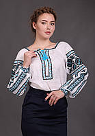 Льняная женская вышиванка, длинный рукав