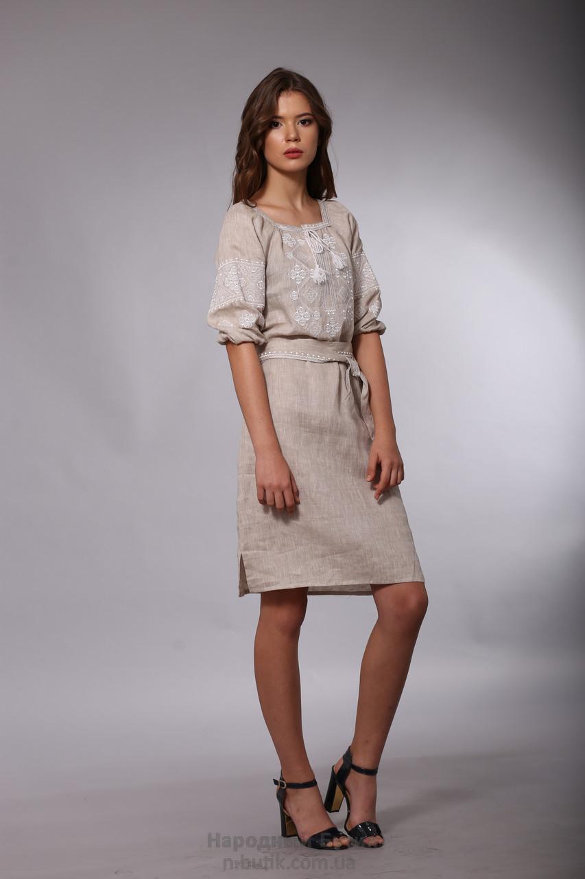 Сукня вишиванка із натурального льону 52 розмір