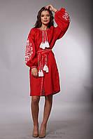 Червона вишита сукня 46 розмір