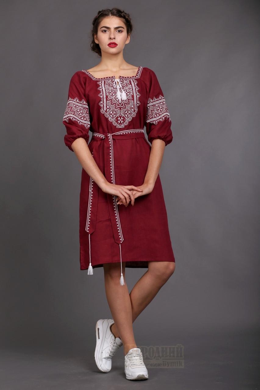 Вишите жіноче плаття Бордо