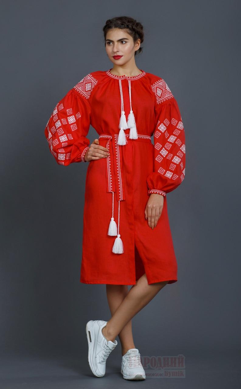 Червоне жіноче плаття - вишиванка