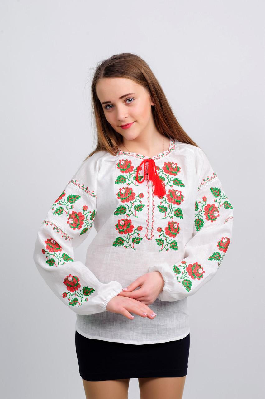 Женская украинская вышиванка Розы с  красно-зеленой вышивкой