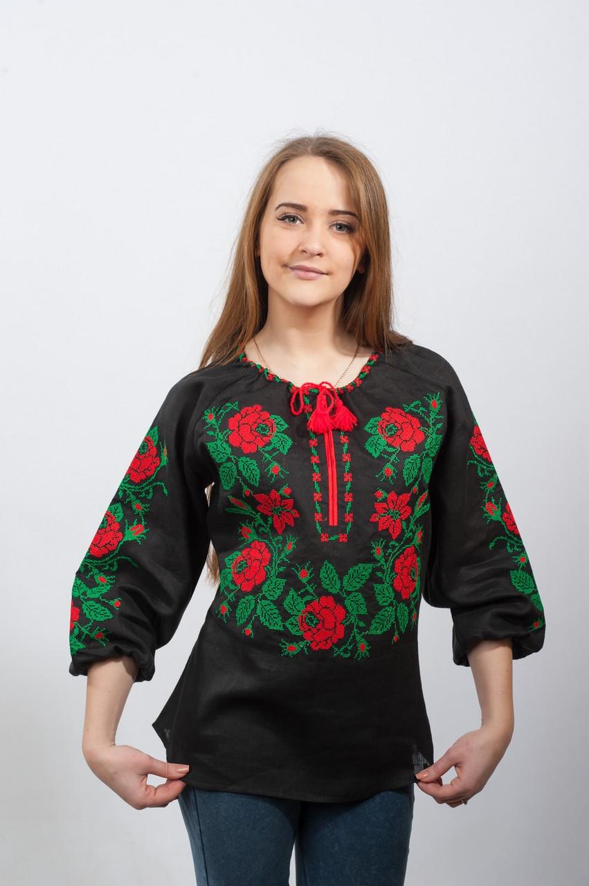 Вышиванка женская Розы Полтавы (красно-зеленая вышивка) черная