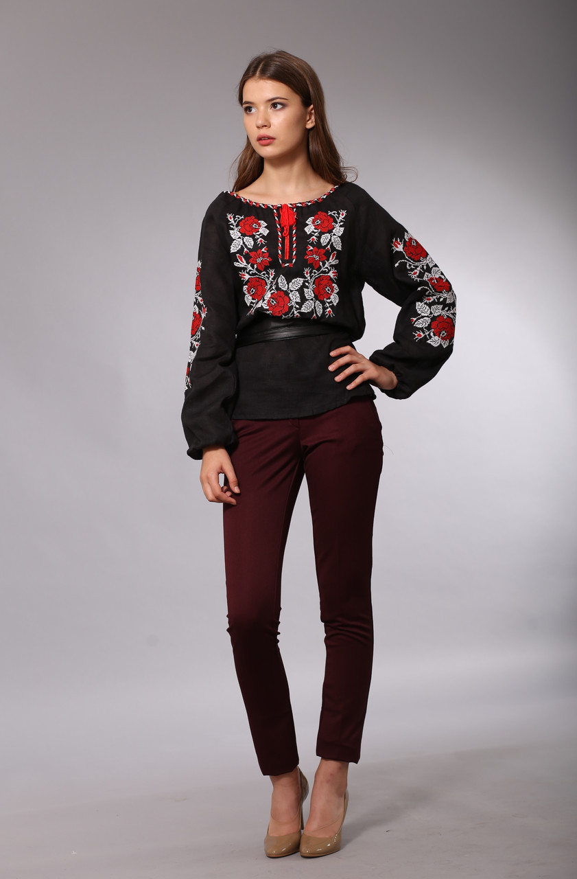 Черная женская вышиванка Розы Полтавы (красно-белая вышивка)