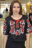 Черная женская вышиванка Розы Полтавы (красно-белая вышивка) , фото 4