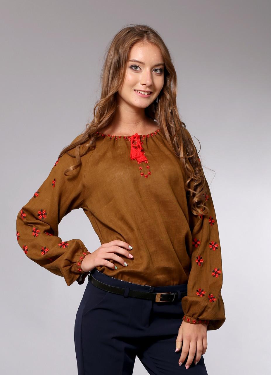 Стильная женская вышиванка. Фантазия, цветной лен, красная вышивка