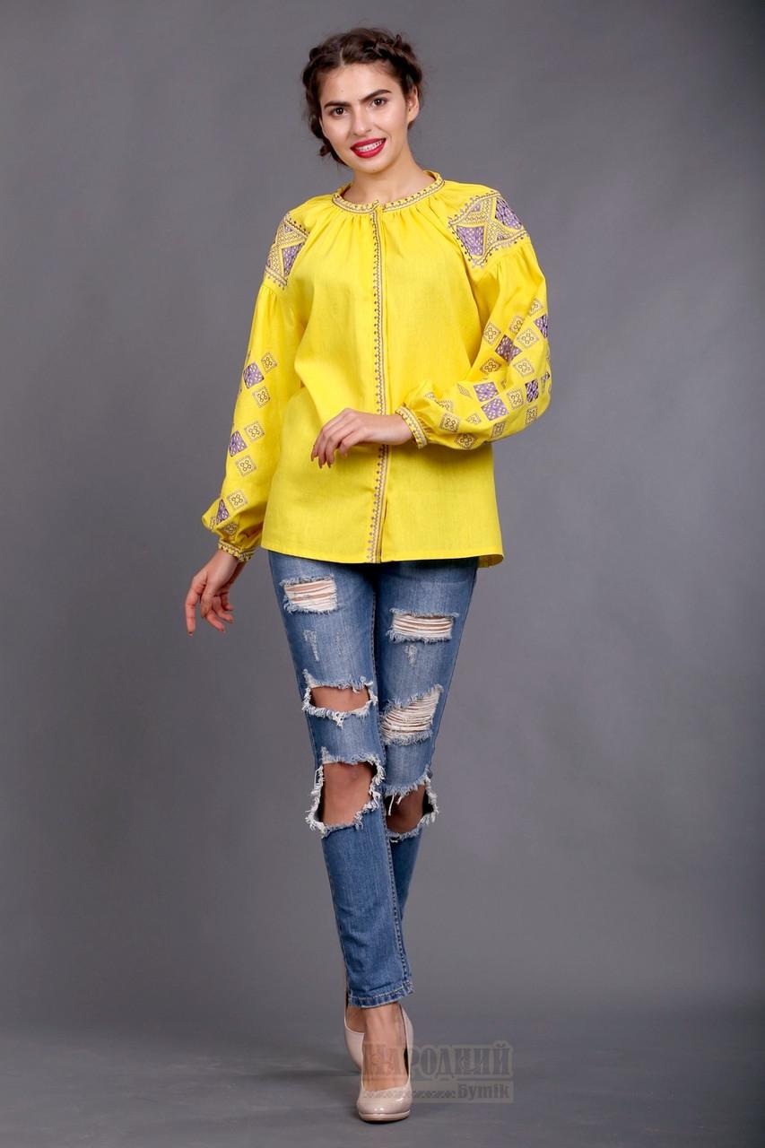 Желтая вышиванка женская в стиле бохо, желтый лен