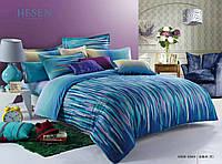 Евро комплект постельного белья сатин, синий с разноцветными полосами
