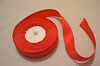 Лента репсовая ширина 2,5 см (23 метра) цвет - красный