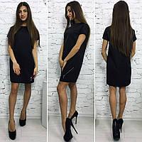Трикотажное мини платье с молнией