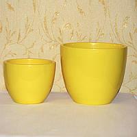 Желтые горшки для комнатных цветов, пара, пр-во Германия
