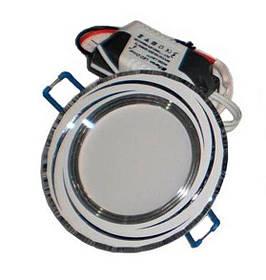 Светодиодная панель Lemanso LM 490 9W 4500K кругл. белый, хром  Код.58799